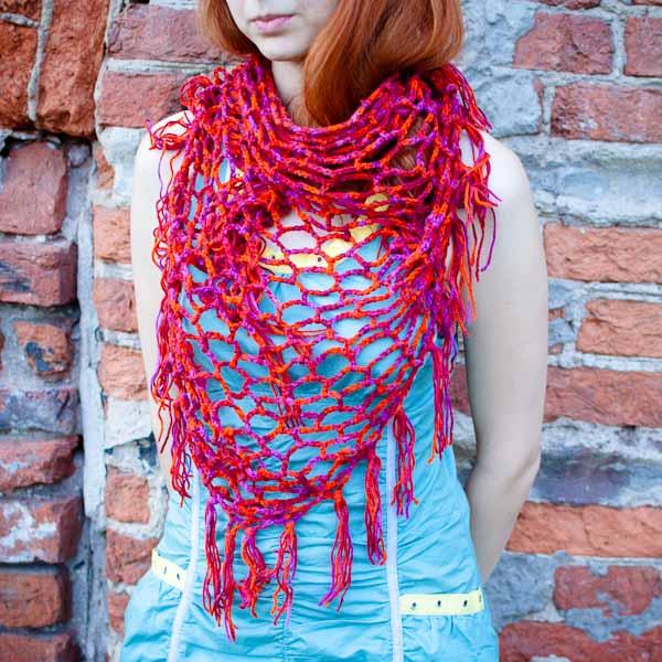 Вязаный шарф Красный ажурчик