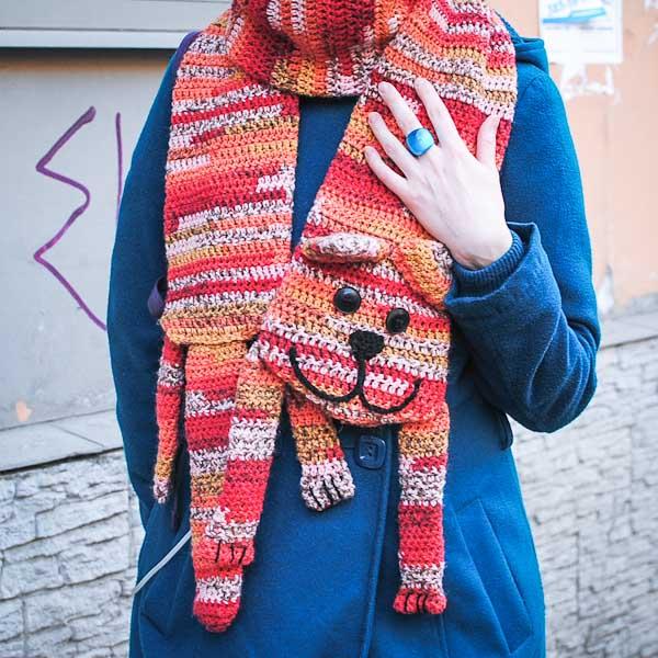 Вязаный шарф с котом или Котошарф