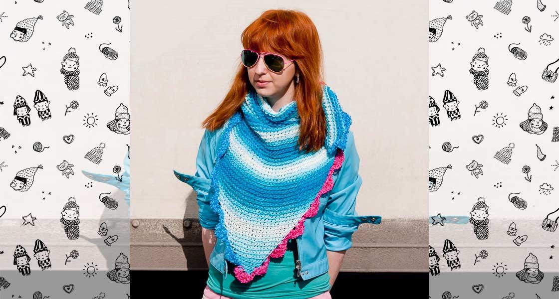 Вязаный шарф Голубая лагуна